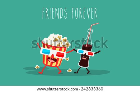 Vector cartoon. fast food. Friends forever. Popcorn, cola, 3D glasses - stock vector