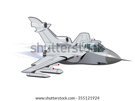 Vector Cartoon Fighter Plane. Available EPS-10 vector format separated by groups and layers for easy edit - stock vector