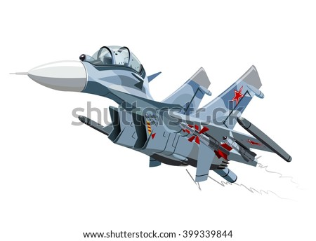 Vector Cartoon Fighter Plane. Twin-engine, supermaneuverable multirole fighter. Available EPS-10 vector format separated by groups and layers for easy edit - stock vector