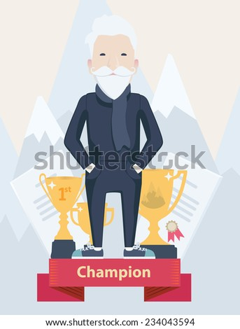 Vector cartoon figure of an old man champion in sport standing on a winners podium with golden trophies in a concept of an active old-age and achievement - stock vector