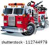 Vector Cartoon Fire Truck - stock vector