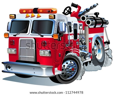 Vector Cartoon Fire Truck - stock vector