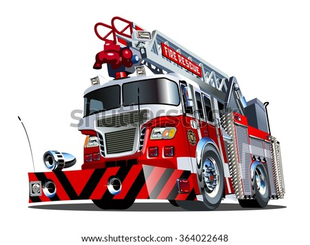 Vector cartoon firetruck. Available EPS-10 vector format separated by groups and layers for easy edit. - stock vector