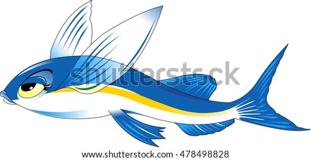 Vector cartoon - flying fish