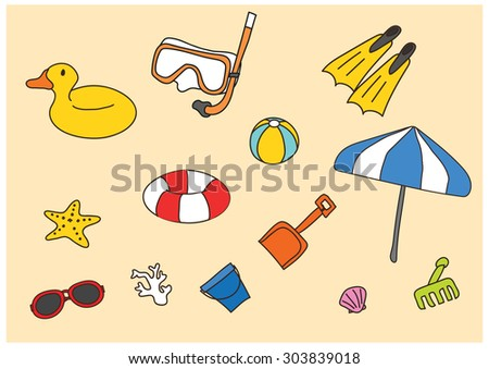 vector cartoon freehand drawing on the beach - stock vector