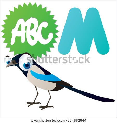 vector cartoon funny animals alphabet: M is for Magpie - stock vector