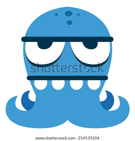 Vector Cartoon Funny Blue Monster Character Isolated - stock vector