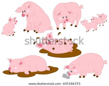 Baby pig stock images royalty free images vectors shutterstock vector cartoon funny cute pigs pig clipart vector illustration voltagebd Image collections