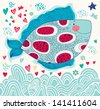 Vector cartoon funny fish. Underwater life. Holiday card - stock