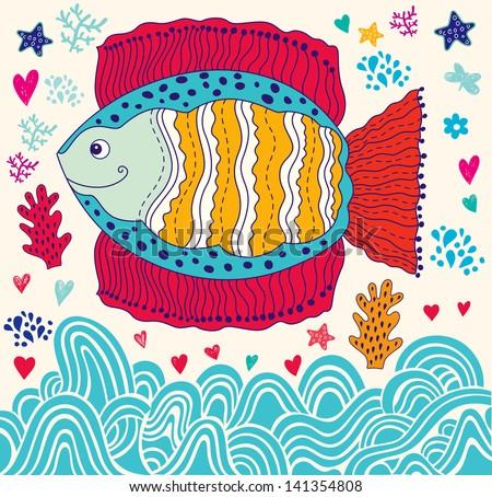 Vector cartoon funny fish. Underwater life. Holiday card - stock vector