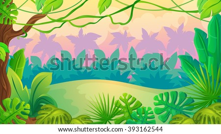 Vector cartoon game background of sunset jungle landscape  - stock vector