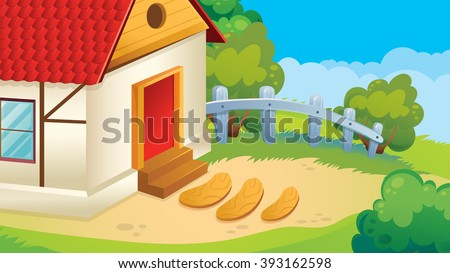 Vector cartoon game background of village courtyard
