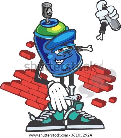 vector cartoon graffiti spray can - stock vector