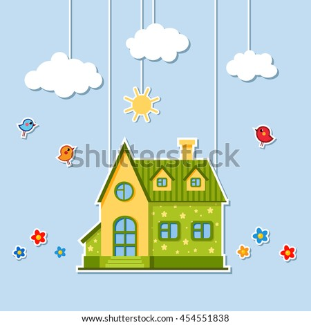 Vector cartoon green and yellow house with birds and flowers. Child illustration. Your sweet home. Paper craft theater with cute bright building, clouds and the sun hanging on ropes