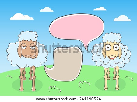Vector cartoon hand drawn illustration of conversation of two sheep with colorful speech bubbles against a plain background landscape. Doodle infographics element. - stock vector