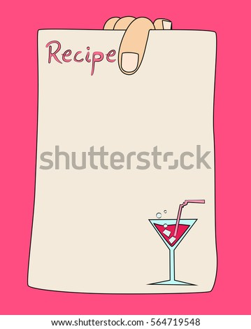 Vector Cartoon Hand Holding Recipe Card Template With Cocktail.