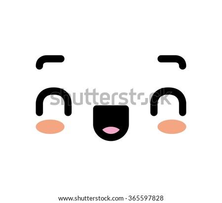Vector Cartoon Happy Face - stock vector