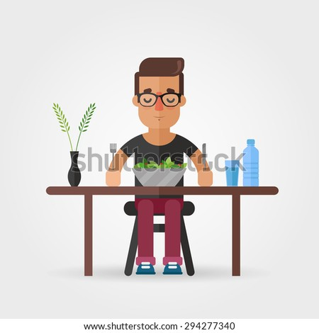 Vector Cartoon Hipster Eating Salad - stock vector