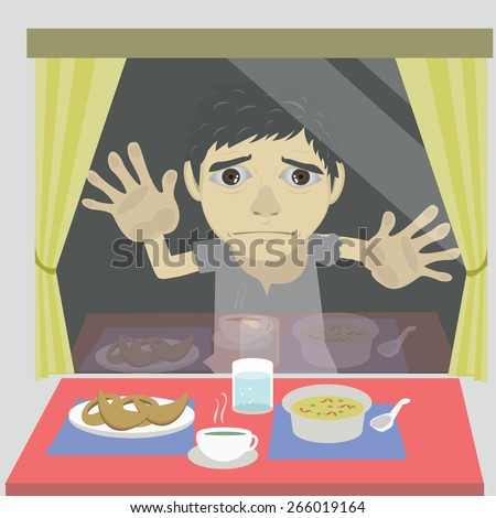Vector cartoon homeless, the hungry stands outside and the food look good enough to eat. - stock vector