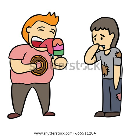 Hungry person cartoon
