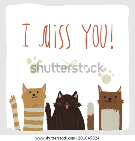 Vector cartoon I Miss You postcard with funny cats. For ui, web games, tablets, wallpapers, and patterns. - stock vector