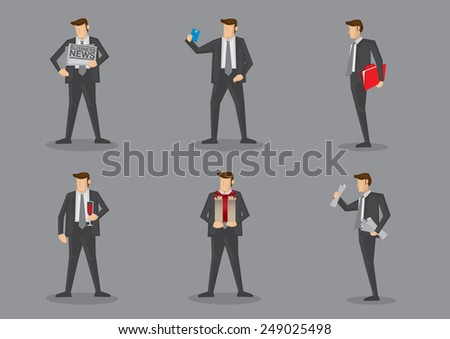 Vector cartoon icons of businessman carrying different props isolated on grey background - stock vector