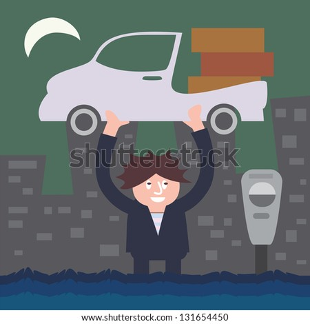Vector cartoon illustrated a businessman lifting his car in flood near the parking meter. - stock vector