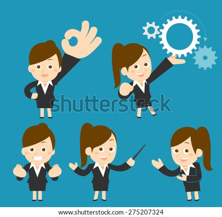 Vector cartoon illustration - Businesswoman set - stock vector