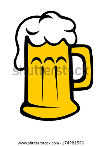 Vector cartoon illustration depicting a frothy tankard of beer or lager with the bubbles running down the glass or beer mug, isolated on white - stock vector