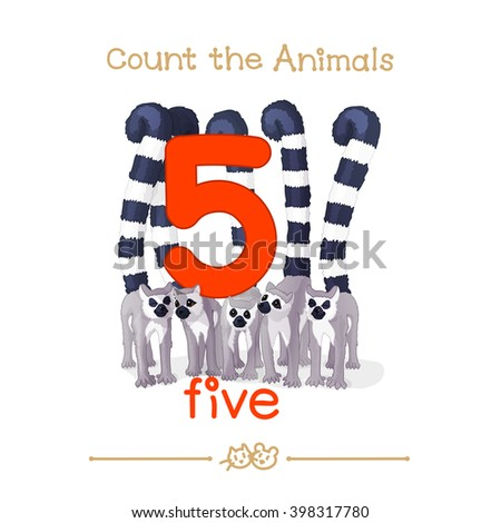 """vector cartoon illustration for five, 5 learn counting with series of """"Count the Animals"""". Baby shower. School manual for teachers. Symbol and designation. Clipart isolated on white background. EPS 10 - stock vector"""