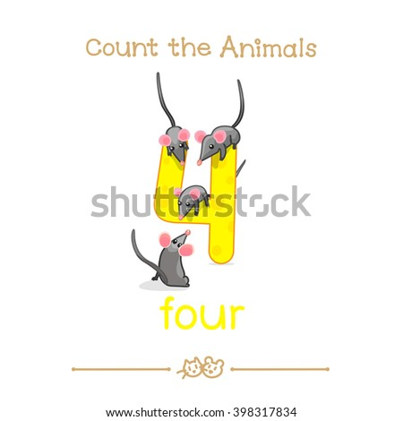 """vector cartoon illustration for four, 4 counting with series of """"Count the Animals"""". Baby shower. School manual for teachers. Symbol and designation. Clipart isolated on white background. EPS 10  - stock vector"""