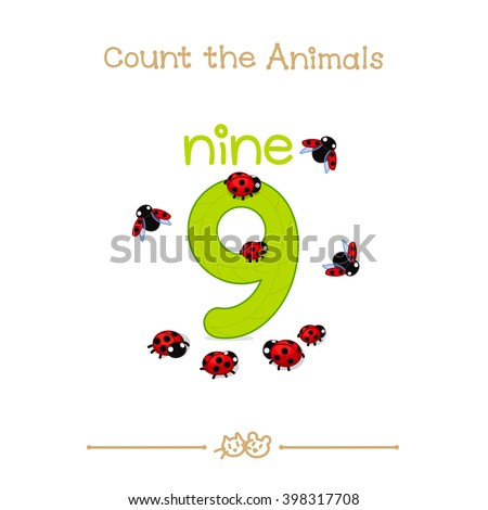 """vector cartoon illustration for nine, 9 learn counting with series of """"Count the Animals"""". Baby shower. School manual for teachers. Symbol and designation. Clipart isolated on white background. EPS 10 - stock vector"""