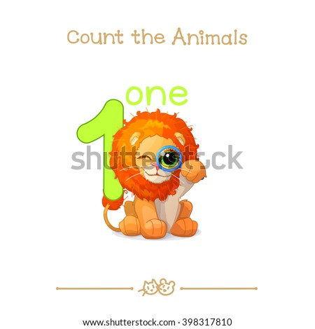 """vector cartoon illustration for one, 1 learn counting with series of """"Count the Animals"""". Baby shower. School manual for teachers. Symbol and designation. Clipart isolated on white background. EPS 10 - stock vector"""
