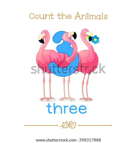 """vector cartoon illustration for three, 3 learn counting with series of """"Count the Animals"""". Baby shower. School manual for teachers. Symbol and designation. Clipart isolated on white background EPS 10 - stock vector"""