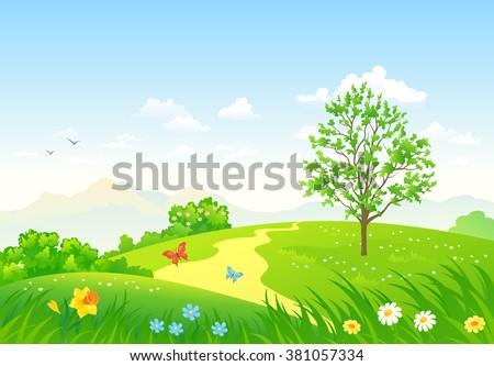 Vector cartoon illustration of a beautiful green spring landscape - stock vector