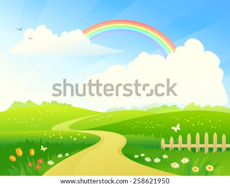 Vector cartoon illustration of a beautiful hilly scenic with a rainbow and a pathway to horizon - stock vector