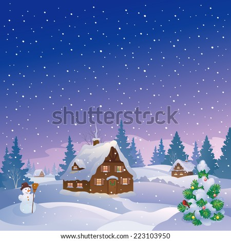 Vector cartoon illustration of a beautiful snow covered village at night, square view - stock vector
