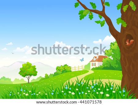 Vector cartoon illustration of a beautiful summer country landscape with a small house and an oak tree - stock vector
