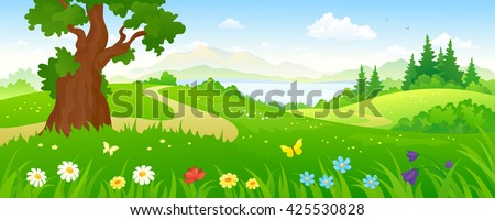 Vector cartoon illustration of a beautiful summer forest and meadows - stock vector