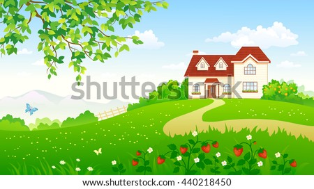 Vector cartoon illustration of a beautiful summer garden with a strawberry meadow and a house - stock vector