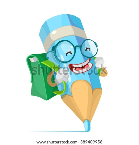 Vector cartoon illustration of a blue pencil mascot character schoolboy in glasses and carries a backpack goes to school - stock vector