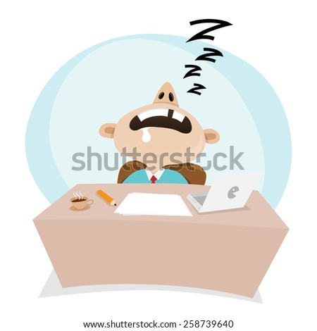 Vector cartoon illustration of a businessman sleeping at work. - stock vector