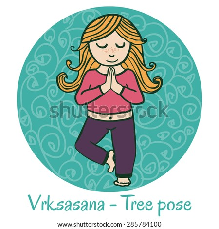 Vector cartoon illustration of a cute girl doing yoga on green background. Vrksasana or Tree pose. - stock vector