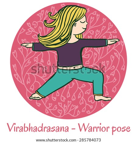 Vector cartoon illustration of a cute girl doing yoga on pink background. Virabhadrasana or Warrior pose.
