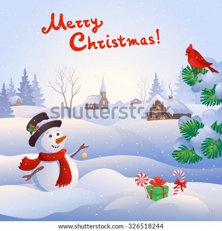 Vector cartoon illustration of a cute snow man at a small snowy village and handwritten Merry Christmas text, square background - stock vector