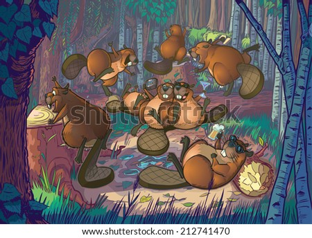 Vector Cartoon Illustration of a group of cute beavers having a party in a forest clearing scene. The file is organized into layers for easy editing. - stock vector