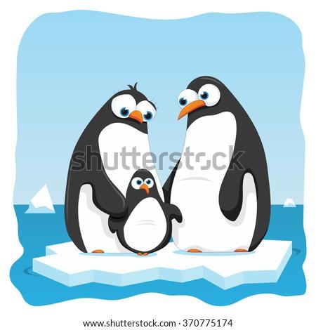 vector cartoon illustration of a penguin family - stock vector