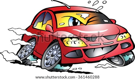 Vector Cartoon illustration of a red Sports Car Mascot racing in full speed - stock vector