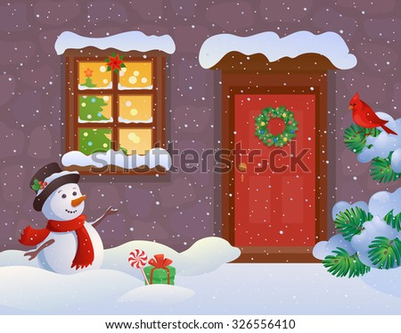 Vector cartoon illustration of a snowy house entrance and a greeting snow man - stock vector