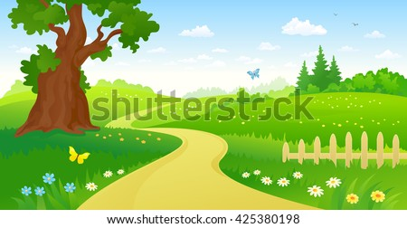 Vector cartoon illustration of a summer forest path - stock vector
